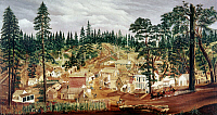 0102352 © Granger - Historical Picture ArchiveCALIFORNIA: FORBESTOWN.   'One Sunday, July 18.' View of Forbestown, California, during the Gold Rush. Oil on canvas by an unknown artist, c1850.
