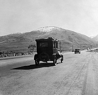 0123768 © Granger - Historical Picture ArchiveRURAL HIGHWAY, 1939.   Migrant workers traveling on U.S. Highway 99 between Imperial and San Joaquin Valleys in Kern County, California. Photograph by Dorothea Lange, February 1939.