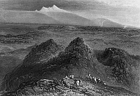 0175915 © Granger - Historical Picture ArchiveSACRAMENTO VALLEY, c1846.   View of the buttes in Sacramento Valley with Sierra Nevada in the distance. Engraving published in 'Memoirs of by Life' by John C. Fremont, 1887.
