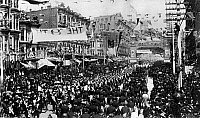 0176443 © Granger - Historical Picture ArchiveSAN FRANCISCO: PARADE, 1890.   A parade on the corner of Market Street and Fourth Street in San Francisco, celebrating the 40th anniversary of California's statehood, 9 September 1890.