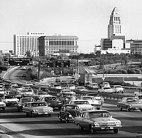 0259209 © Granger - Historical Picture ArchiveLOS ANGELES: HIGHWAY.   Highway in Los Angeles, California. Photograph, 1960s or 1970s.