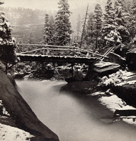0326736 © Granger - Historical Picture ArchiveYOSEMITE VALLEY, c1870.   A view of a footbridge leading to Nevada Fall in Yosemite Valley, after a snowstorm in July. Photograph by John P. Soule, c1870.