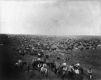 0107487 © Granger - Historical Picture ArchiveCATTLE RANCH, c1905.   'Where We Shine.' Cowboys and cattle on a range in Utah or Colorado. Photograph by Francis Marion Steele.