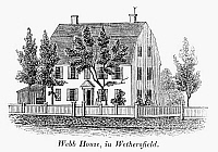 0125515 © Granger - Historical Picture ArchiveCONNECTICUT: WEBB HOUSE.   The Webb house in Wethersfield, Connecticut, where General George Washington and Comte de Rochambeau planned the Yorktown campaign in 1781. Wood engraving, American, 1836.