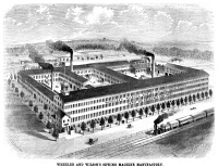 0354196 © Granger - Historical Picture ArchiveSEWING MACHINE FACTORY.   Wheeler and Wilson sewing machine factory in Connecticut. Engraving, American, 1863.
