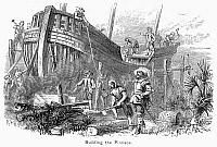 0055346 © Granger - Historical Picture ArchiveFLORIDA: FORT CAROLINE.   Huguenot colonists at Fort Caroline, Florida building a ship to return them to France, 1562. Wood engraving, 19th century.