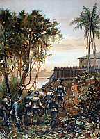 0099297 © Granger - Historical Picture ArchiveFLORIDA: FORT CAROLINE.   French attack led by Dominique de Gourgues on the Spanish Fort of San Mateo (formerly the French Fort Caroline), near the present-day site of Jacksonville, Florida, April 1568. Lithograph, 1893.