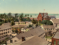 0113600 © Granger - Historical Picture ArchiveFLORIDA: KEY WEST, c1900.   View of the Custom House and harbor at Key West, Florida. Photochrome, c1900.
