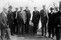 0259856 © Granger - Historical Picture ArchiveFLORIDA: RAILROAD, c1912.   Joseph R. Parrott (far left), Henry Morrison Flagler (fourth from right) and others at the opening of Florida Keys Railway. Photograph, c1912.