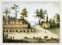 0351513 © Granger - Historical Picture ArchiveSECOND SEMINOLE WAR, 1835.   Soldiers in camp outside fortified houses in Picolata, Florida, during the Second Seminole War, 1835. Lithograph, 1837.