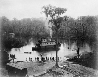 0623401 © Granger - Historical Picture ArchiveFLORIDA: STEAMBOAT, c1886.   A steamboat landing at the railroad station at Silver Springs, Florida. Photograph by George Barker, c1886.