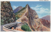 0324177 © Granger - Historical Picture ArchiveHAWAII: PALI HIGHWAY, 1935.   Hawaii Route 61, also known as the Pali Highway, on Oahu, Hawaii. Postcard, American, 1935.