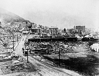 0122314 © Granger - Historical Picture ArchiveIDAHO: WALLACE, c1915.   Aerial view of the destruction by a forest fire in Wallace, Idaho. Photograph, c1915.