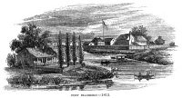0045092 © Granger - Historical Picture ArchiveILLINOIS: FORT DEARBORN.   Fort Dearborn, on the site of Chicago, Illinois, as it looked in 1812. Wood engraving, 19th century.