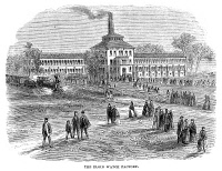 0370143 © Granger - Historical Picture ArchiveILLINOIS: FACTORY, 1869.   The Elgin National Watch Company factory in Elgin, Illinois. Wood engraving, American, 1869.