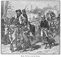 0082435 © Granger - Historical Picture ArchiveKANSAS: BORDER RUFFIANS.   Missourians on their way to plunder and burn the Free Soil capitol of Lawrence, Kansas, in 1856. Wood engraving, 19th century.
