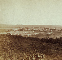 0173531 © Granger - Historical Picture ArchiveFORT LEAVENWORTH, 1867.   Fort Leavenworth, Kansas, as viewed from a nearby hilltop. Stereograph by Gardner's Photographic Gallery, 1867.