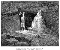 0043739 © Granger - Historical Picture ArchiveKENTUCKY: MAMMOTH CAVE.   The narrow 'Fat Man's Misery' entrance at Mammoth Cave. Wood engraving, English, 1876.