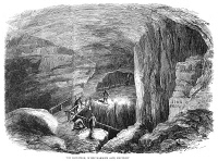 0043740 © Granger - Historical Picture ArchiveKENTUCKY: MAMMOTH CAVE.   The Maelstrom inside Mammoth Cave. Wood engraving, English, 1859.
