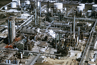 0163213 © Granger - Historical Picture ArchiveBATON ROUGE: REFINERY.   Aerial view of a refinery in Baton Rouge, Louisiana. Photographed c1974.