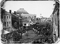 0129064 © Granger - Historical Picture ArchivePORTLAND, MAINE, 1848.   Militia parade on Exchange Street in Portland, Maine. Daguerreotype, 1848.