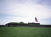 0382884 © Granger - Historical Picture ArchiveMARYLAND: FORT McHENRY.   Fort McHenry in Baltimore, Maryland, where Francis Scott Key was inspired to write 'The Star-Spangled Banner' during the War of 1812. Photograph by Carol M. Highsmith, c1990.