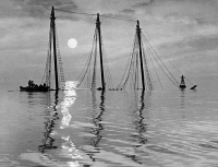 0622738 © Granger - Historical Picture ArchiveCHESAPEAKE BAY, 1955.   The three masts of the sunken ship Edward J. Baird emerging from the waters of Chesapeake Bay. Photograph by A. Aubrey Bodine, 1955.