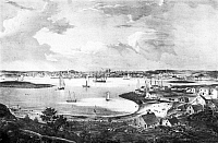 0082480 © Granger - Historical Picture ArchiveGLOUCESTER, c1835.   View of Gloucester, Massachusetts. Lithograph, c1835, by Fitz Hugh Lane.