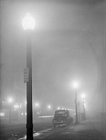 0122635 © Granger - Historical Picture ArchiveNEW BEDFORD, 1941.   A foggy night in New Bedford, Massachusetts. Photograph by Jack Delano, January 1941.