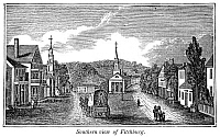 0323937 © Granger - Historical Picture ArchiveMASSACHUSETTS: FITCHBURG.   Southern view of Fitchburg, Massachusetts. Wood engraving, American, 1844.