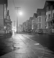 0370624 © Granger - Historical Picture ArchiveNEW BEDFORD, 1941.   A foggy night in New Bedford, Massachusetts. Photograph by Jack Delano, January 1941.