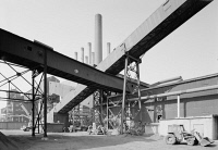 0407815 © Granger - Historical Picture ArchiveMICHIGAN: ROUGE COMPLEX.   Conveyors at the Rouge Steel Company, part of the Ford River Rouge Complex in Dearborn, Michigan. Photograph, c1970.