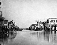 0183840 © Granger - Historical Picture ArchiveMONTANA: FLOOD, 1881.   Flooding in Miles City, Montana. Photograph by L.A. Huffman, 1881.
