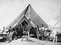 0186456 © Granger - Historical Picture ArchiveMONTANA: FORT KEOGH, c1880.   Men in a tent at the Fort Keogh army post in Montana. Photograph, c1880.