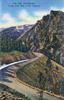 0324068 © Granger - Historical Picture ArchiveMONTANA: BEARTOOTH HIGHWAY.   Switchback turns on Beartooth Highway between Cooke City and Red Lodge, Montana. Postcard, American, 1937.