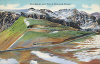 0324071 © Granger - Historical Picture ArchiveMONTANA: BEARTOOTH HIGHWAY.   Switchbacks on Beartooth Highway near the top of Beartooth Plateau, Montana. Postcard, American, 1937.