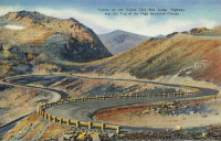 0324072 © Granger - Historical Picture ArchiveMONTANA: BEARTOOTH HIGHWAY.   Switchbacks on Beartooth Highway near the top of Beartooth Plateau, Montana. Postcard, American, 1937.