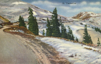 0324073 © Granger - Historical Picture ArchiveMONTANA: BEARTOOTH HIGHWAY.   The timber line along the Beartooth Highway, Montana. Postcard, American, 1937.