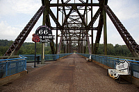 0129686 © Granger - Historical Picture ArchiveROUTE 66 BRIDGE, 2009.   Chain of Rocks Bridge spanning the Mississippi River, was originally used by U.S. Route 66. It currently carries pedestrian traffic north of St. Louis, Missouri. Photograph by Carol M. Highsmith, September 2009.