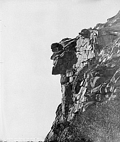 0118171 © Granger - Historical Picture ArchiveWHITE MOUNTAINS: OLD MAN.   The 'Old Man of the Mountain' rock formation in the Franconia Notch pass in the White Mountains in New Hampshire. Photograph, c1895.