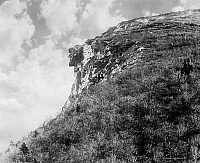 0118173 © Granger - Historical Picture ArchiveWHITE MOUNTAINS: OLD MAN.   The 'Old Man of the Mountain' rock formation in the Franconia Notch pass in the White Mountains in New Hampshire. Photograph, c1900.