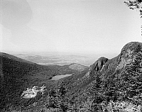 0118211 © Granger - Historical Picture ArchiveNEW HAMPSHIRE: HOTEL.   View of the Profile House hotel and Echo Lake from Eagle Cliff in Franconia Notch, White Mountains, New Hampshire. Photogrpah, c1900.