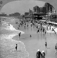 0066883 © Granger - Historical Picture ArchiveATLANTIC CITY, 1920s.   Summer crowds at the seaside resort of Atlantic City, New Jersey, during the 1920s. From a stereograph.