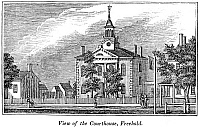 0082492 © Granger - Historical Picture ArchiveAMERICAN COURTHOUSE, 1844.   View of the courthouse at Freehold, New Jersey. Wood engraving, American, 1844.