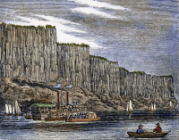 0086904 © Granger - Historical Picture ArchiveNEW JERSEY: PALISADES.   Palisades on the Hudson River. Wood engraving, American, 1844.