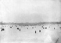 0322949 © Granger - Historical Picture ArchiveNEW JERSEY: ICE SKATING.   People ice skating and walking on the frozen Navesink River in Red Bank, New Jersey. Photograph, c1912.