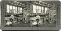 0326860 © Granger - Historical Picture ArchiveNEW JERSEY: POTTERY PLANT.   Interior of the decorating shop at a large pottery plant in Trenton, New Jersey. Stereograph, c1915.