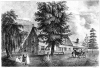 0067168 © Granger - Historical Picture ArchiveBOWNE HOUSE, 1661.   The Bowne House, built in 1661 by John Bowne at Flushing, New York, soon becoming a Quaker refuge and meetinghouse in defiance of the ban against Quakers ordered by New Netherlands Governor Peter Stuyvesant: American lithograph, c1819.