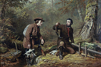 0102950 © Granger - Historical Picture ArchiveNEW YORK: MINK TRAPPERS.   'Mink Trapping in Northern New York.' Oil on canvas by Arthur Fitzwilliam Tait, 1862.