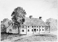 0124429 © Granger - Historical Picture ArchiveGENERAL SCHUYLER'S HOUSE.   The house of General Philip Schuyler (1733-1804) at Schuylerville near Saratoga, New York, watercolor.